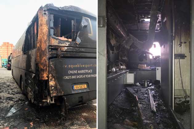 Vuelta: Podtaknil požar, zagorel avtobus