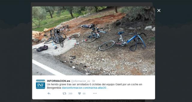 Avtomobil zbil šest kolesarjev Giant Alpecina