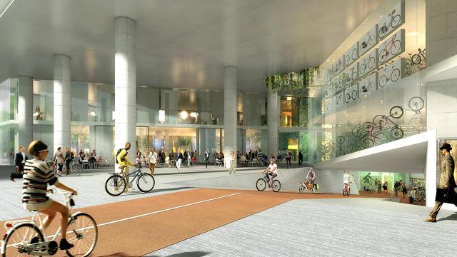 V Oslu načrtujejo poslovno stavbo z unikatnim kolesarskim parkiriščem za stekleno steno