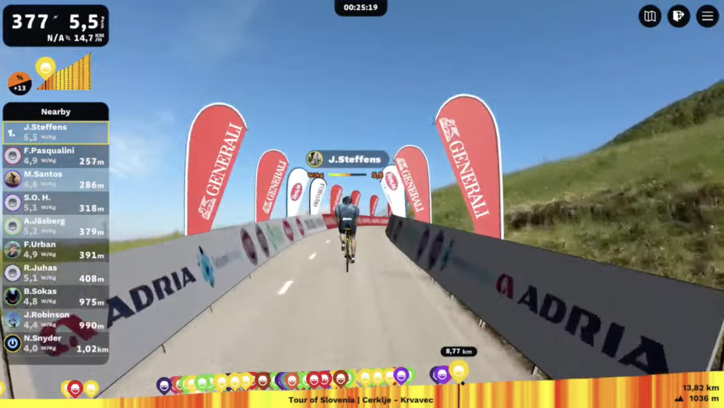 Uspešen začetek prve virtualne kolesarske dirke Po Sloveniji
