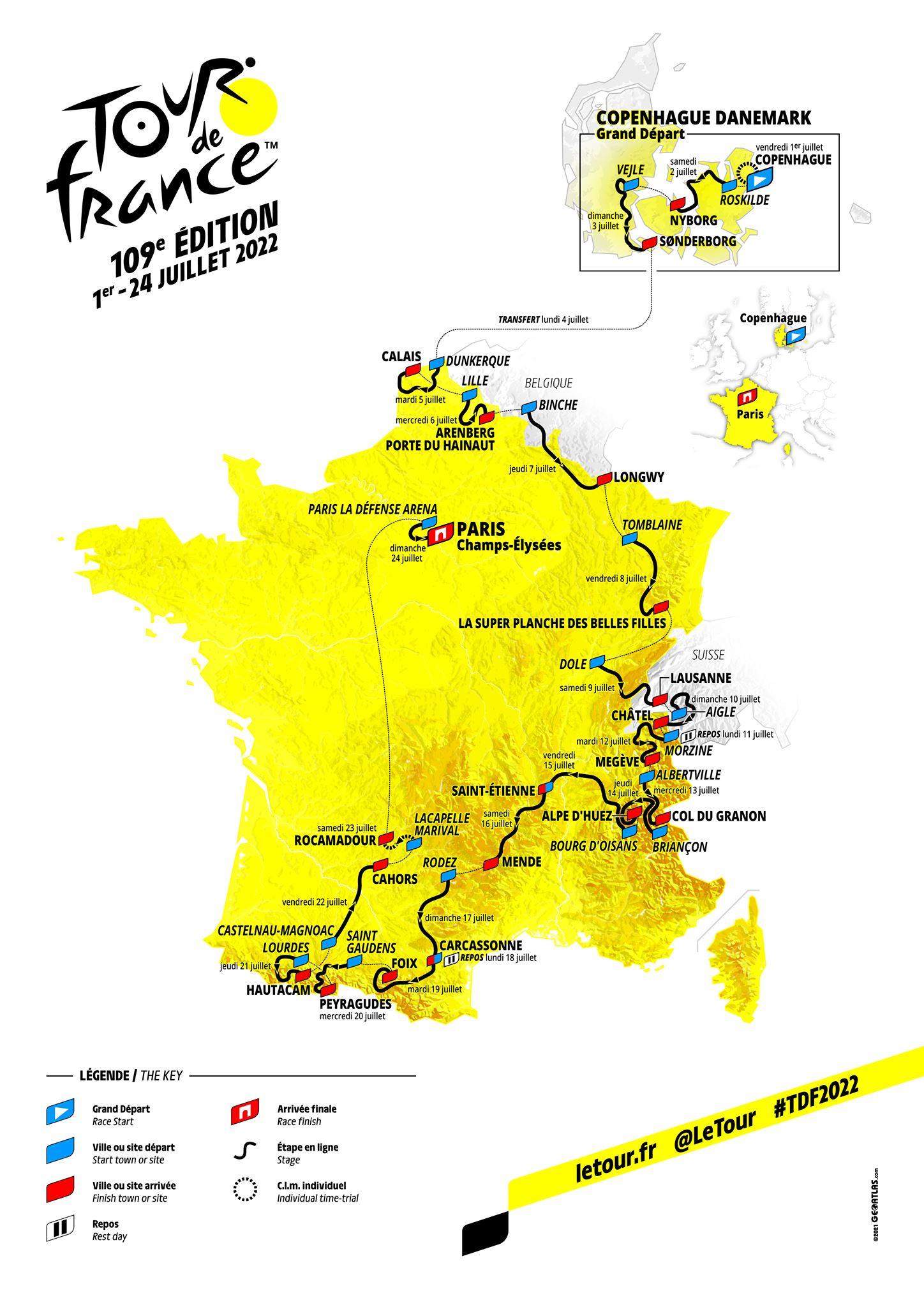 Trasa Toura 2022: Kocke Pariz – Roubaixa, Alpe d'Huez in kronometer za veliki finale