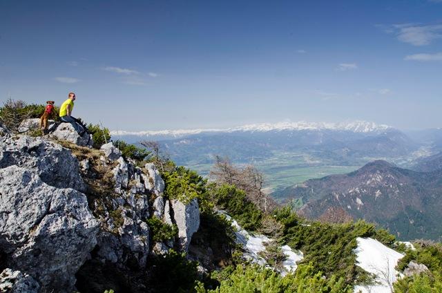 Dobrča (1634 m) in Šentanski vrh (1635 m) iz Tržiča